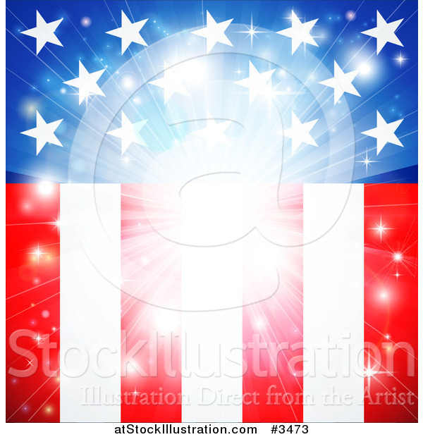 Vector Illustration of a Bright American Flag Burst Background