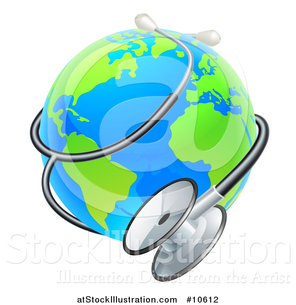 Vector Illustration of a Bright Blue and Green World Earth Globe with a Stethoscope
