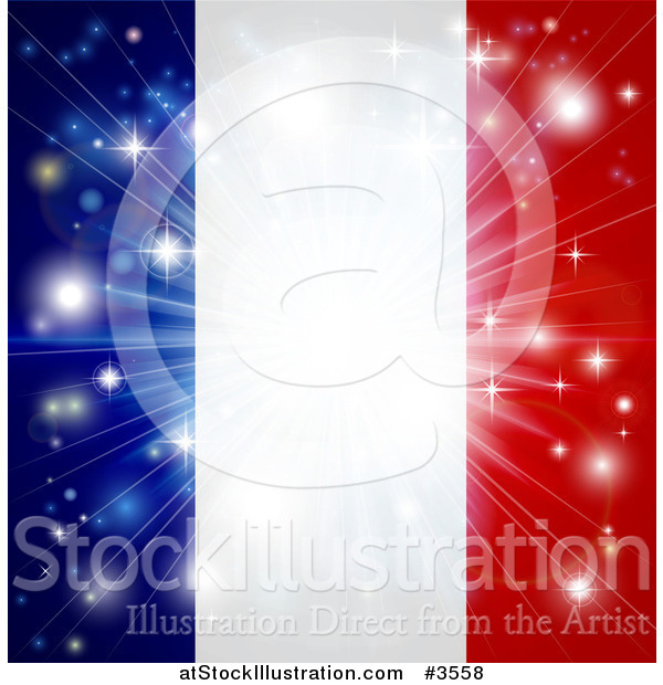 Vector Illustration of a Bright Burst of Light over a French Flag