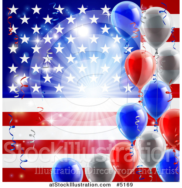 Vector Illustration of a Bright Burst over an American Flag and Fourth of July Balloons