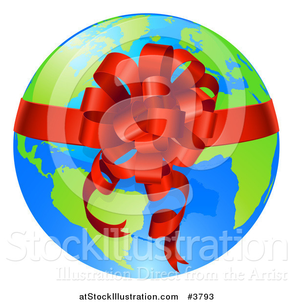 Vector Illustration of a Bright Globe with a Red Ribbon and Bow