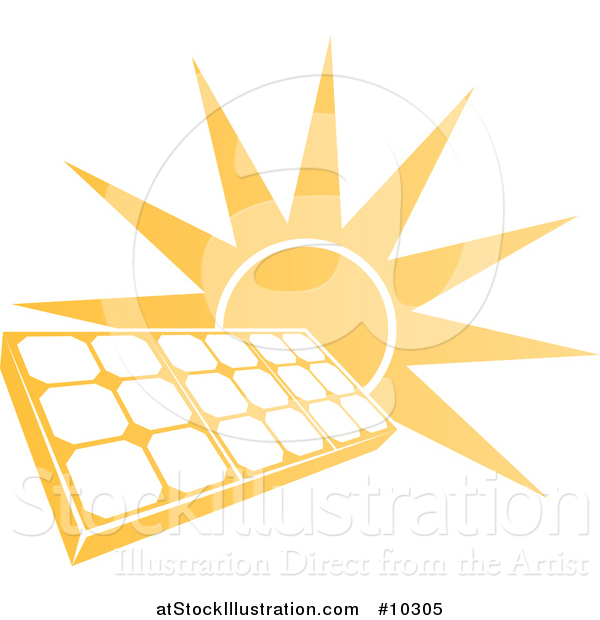 Vector Illustration of a Bright Orange Sun Behind a Solar Panel Photovoltaics Cell