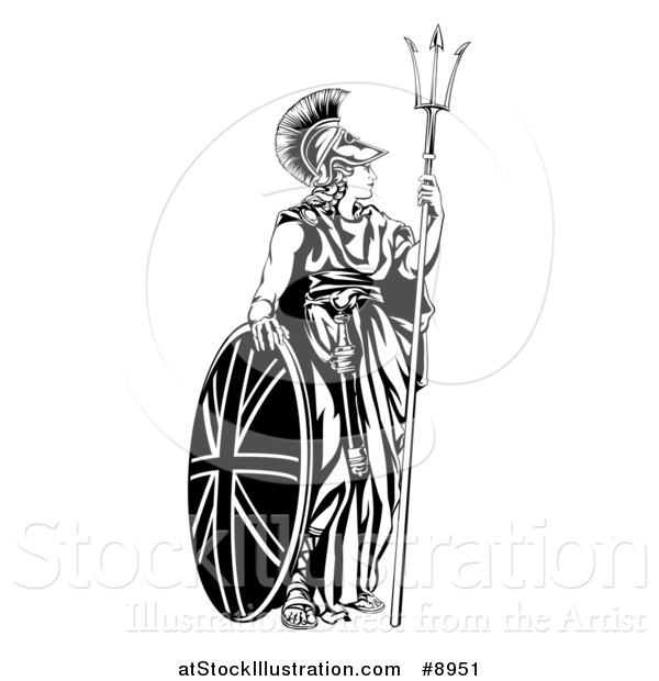 Vector Illustration of a Britannia, Personification of Britain, Standing with a Union Jack Shield and Holding a Trident