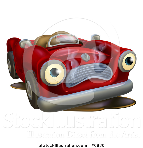 Vector Illustration of a Broken down Red Convertible Car Character