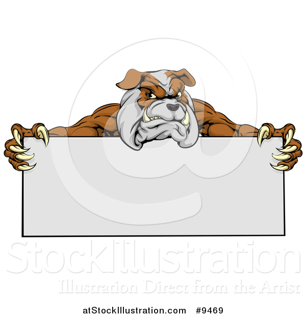 Vector Illustration of a Brown and Gray Aggressive Bulldog Monster Mascot Holding a Blank Sign