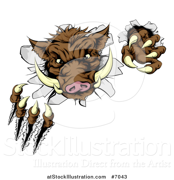 Vector Illustration of a Brown Boar Monster Slashing Through a Wall
