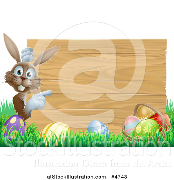 Vector Illustration of a Brown Bunny by a Wood Sign and Easter Eggs