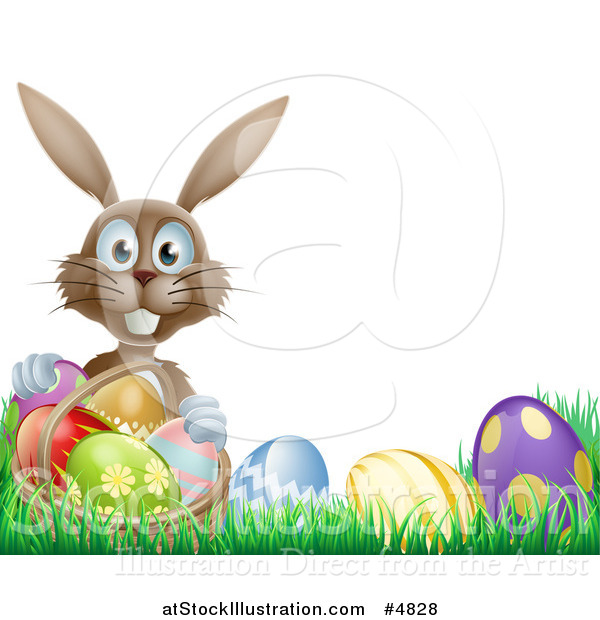 Vector Illustration of a Brown Bunny Holding Basket by Easter Eggs