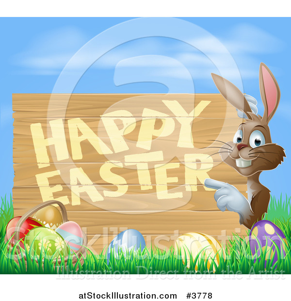 Vector Illustration of a Brown Bunny Pointing to a Happy Easter Sign, with a Basket and Easter Eggs in Grass