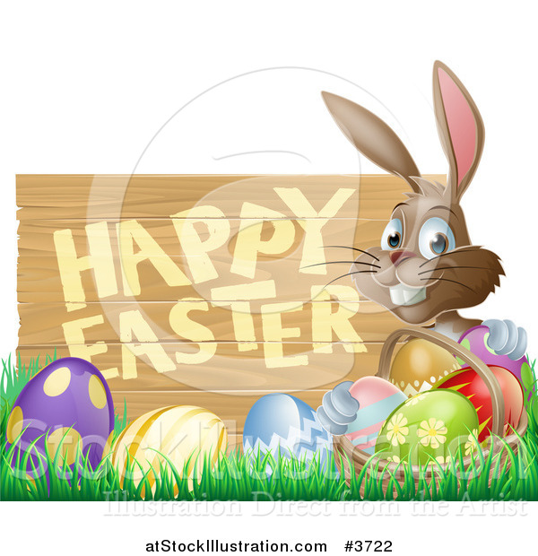Vector Illustration of a Brown Bunny with a Basket and Easter Eggs in Grass, by a Happy Easter Sign