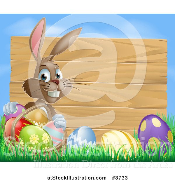 Vector Illustration of a Brown Easter Bunny with Eggs in Grass and a Basket by a Wood Sign with Blue Sky