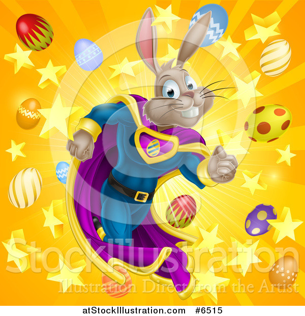 Vector Illustration of a Brown Easter Super Hero Bunny Rabbit Running Through a Burst of Eggs and Stars