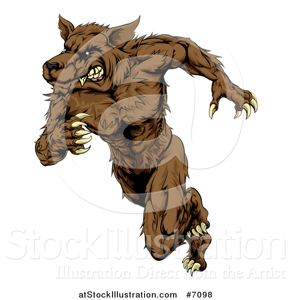 Vector Illustration of a Brown Muscular Wolf Man Sprinting or Running Upright
