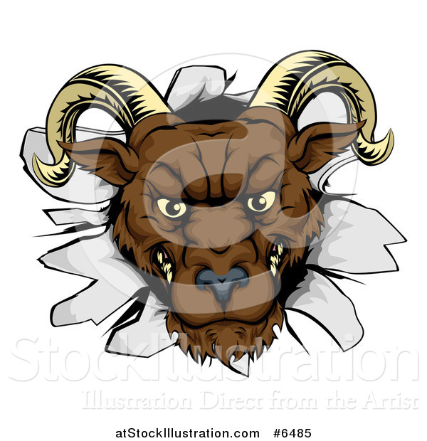 Vector Illustration of a Brown Snarling Angry Ram Breaking Through a Wall