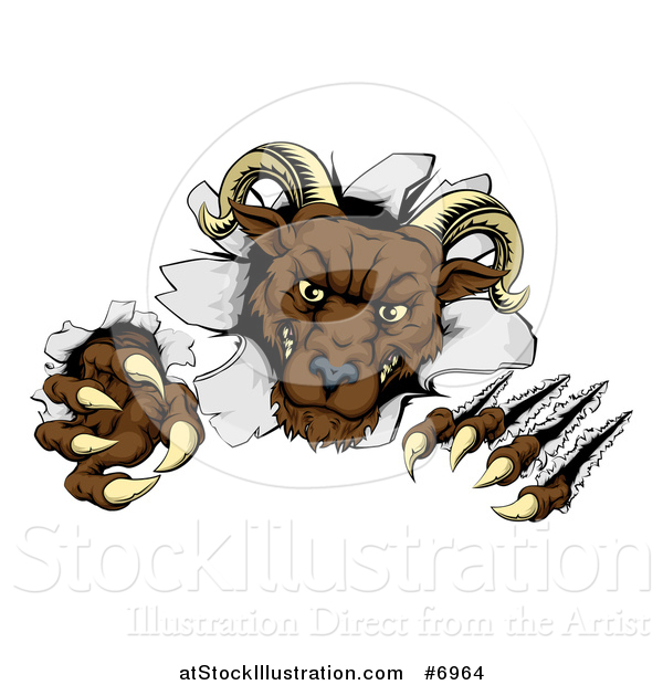 Vector Illustration of a Brown Vicious Ram Monster Clawing Through a Wall