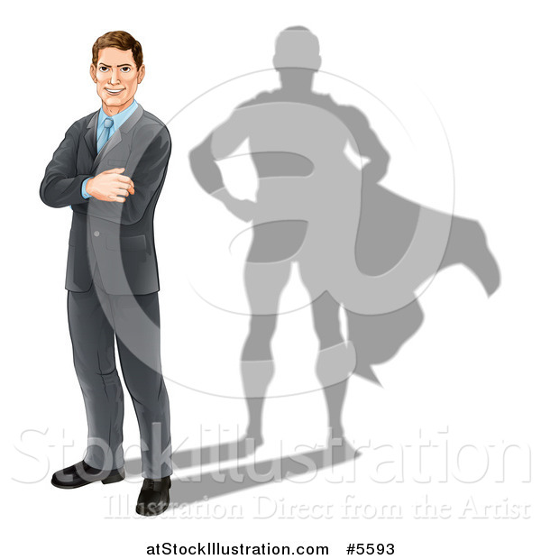 Vector Illustration of a Brunette Caucasian Businesman Standing with Folded Arms and a Super Hero Shadow