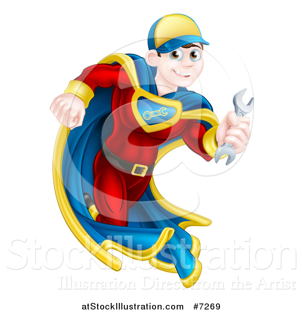 Vector Illustration of a Brunette Caucasian Male Super Hero Mechanic Running with a Wrench