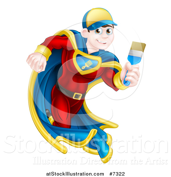 Vector Illustration of a Brunette Caucasian Male Super Hero Painter Running with a Brush 2