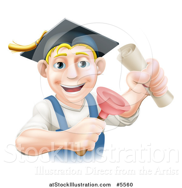 Vector Illustration of a Brunette Male Plumber Graduate Holding a Certificate and Plunger