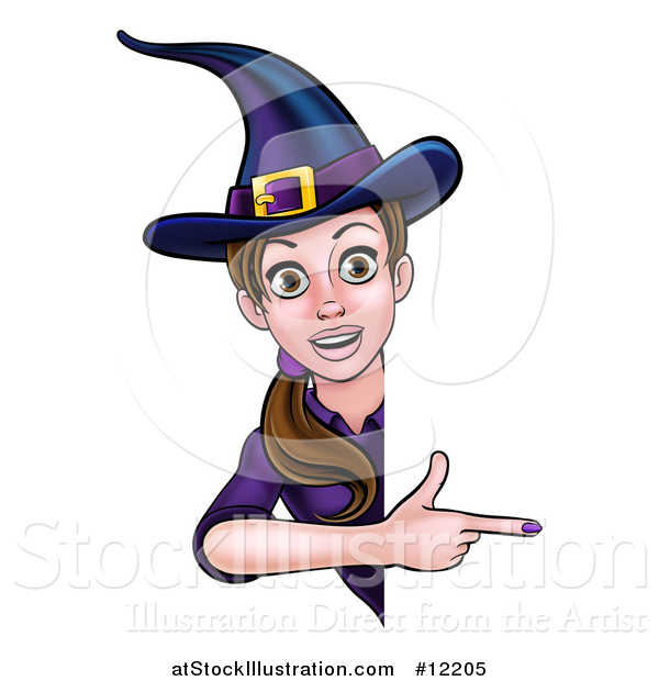 Vector Illustration of a Brunette Witch Pointing Around a Halloween Sign