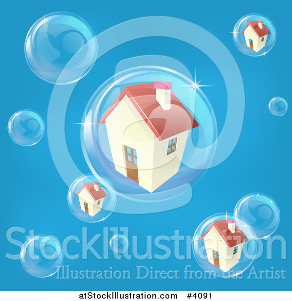 Vector Illustration of a Bubble in the Housing Market with Homes in Bubbles on Blue