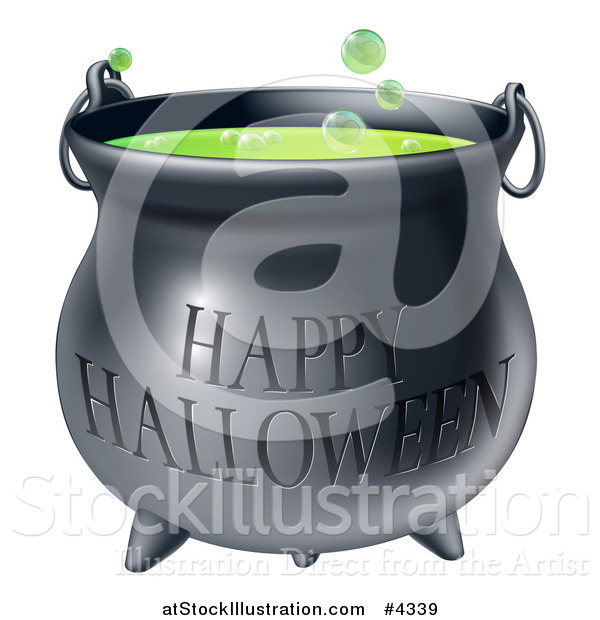 Vector Illustration of a Bubbly Witch Cauldron with Happy Halloween Text
