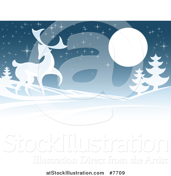 Vector Illustration of a Buck Deer in a Hilly Winter Landscape Under a Full Moon at Night