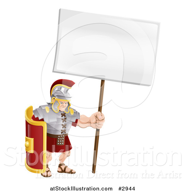 Vector Illustration of a Buff Roman Soldier with a Sign