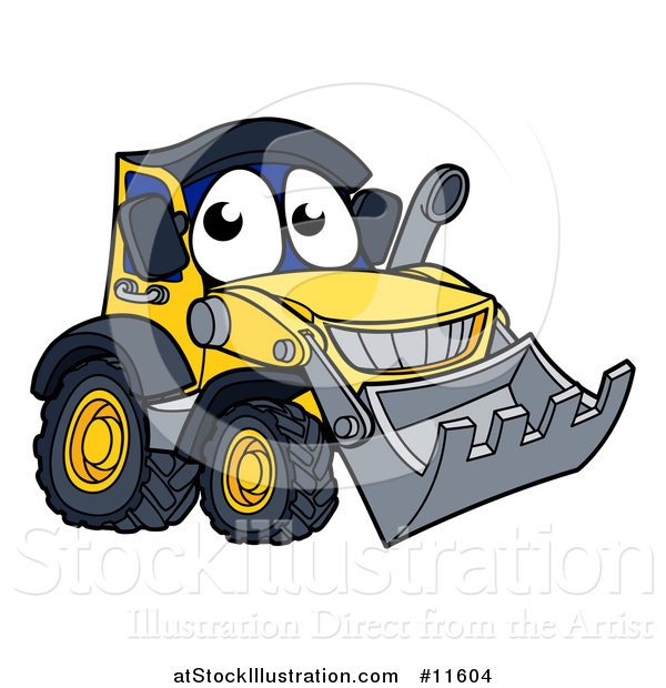 Vector Illustration of a Bulldozer Mascot Character