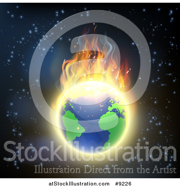 Vector Illustration of a Burning Earth Globe with Bright Flames Against Outer Space