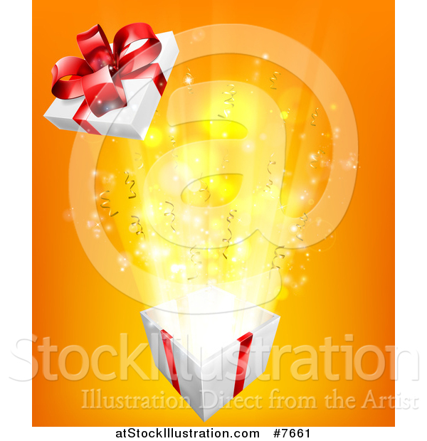 Vector Illustration of a Bursting Gift Box over Orange