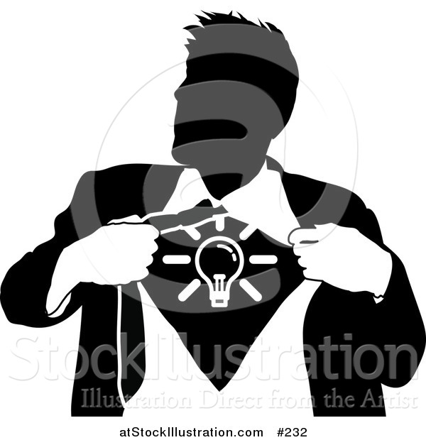 Vector Illustration of a Business Man Ripping Open His Shirt to Show a Light Bulb
