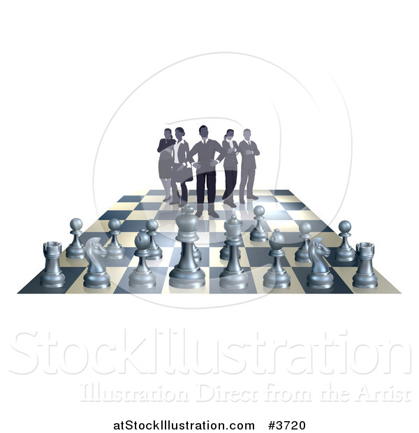 Vector Illustration of a Business Team on a Chess Board, up Against Game Pieces