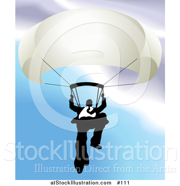 Vector Illustration of a Businessman Holding on to a Parachute