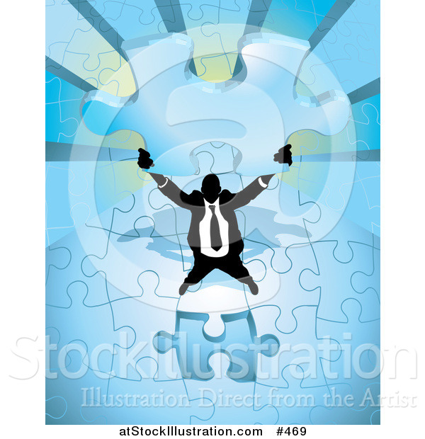 Vector Illustration of a Businessman Holding up the Final Piece to a Blue Jigsaw Puzzle Before Completing It