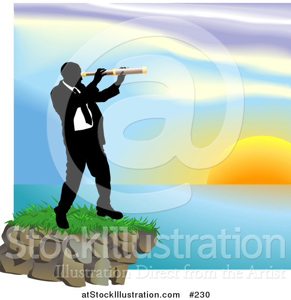 Vector Illustration of a Businessman Looking Through a Telescope Across a Waterscape