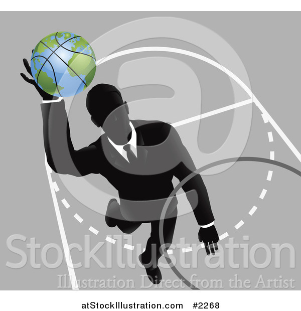 Vector Illustration of a Businessman Slam Dunking a Globe Basketball