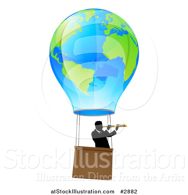 Vector Illustration of a Businessman Viewing Through a Spyglass in a World Hot Air Balloon