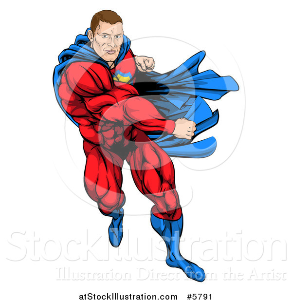Vector Illustration of a Cacuasian Muscular Super Hero Man Running and Punching