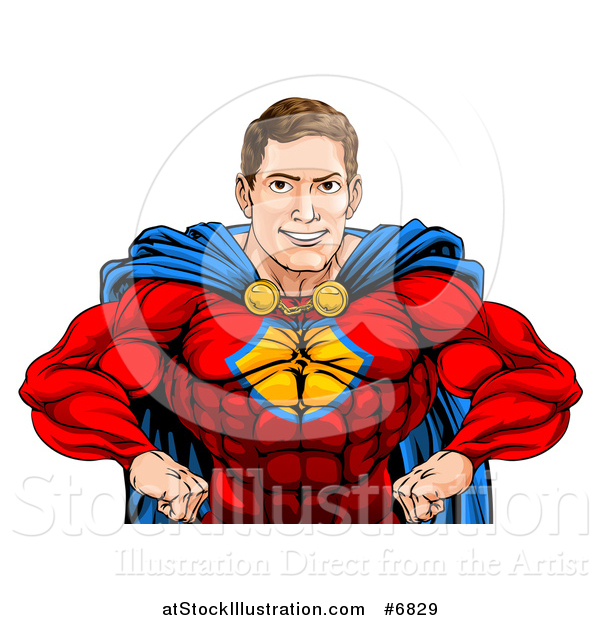 Vector Illustration of a Cacuasian Muscular Super Hero Man with Hands on His Hips