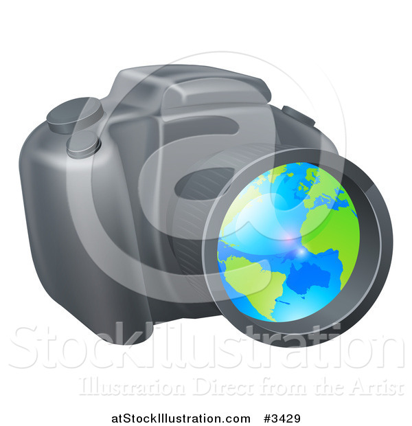 Vector Illustration of a Camera with a Globe in the Lens