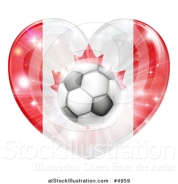 Vector Illustration of a Canadian Flag Heart and Soccer Ball