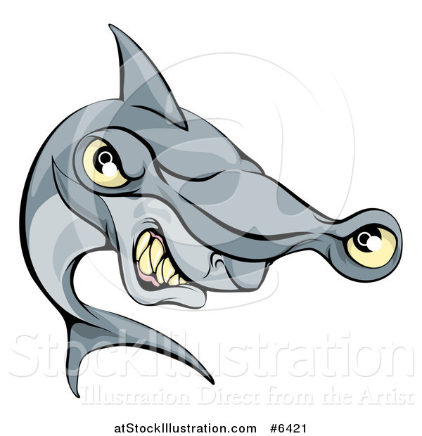 Vector Illustration of a Cartoon Aggressive Grinning Hammerhead Shark