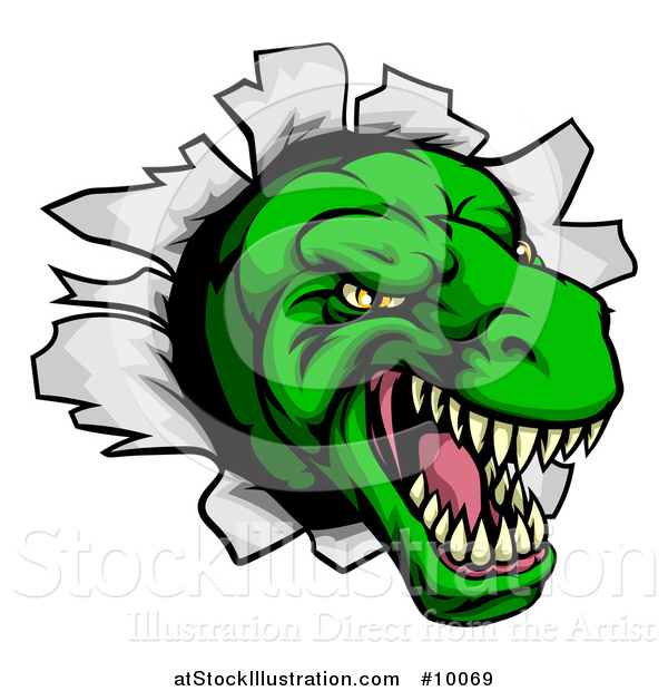 Vector Illustration of a Cartoon Angry Green Tyrannosaurus Rex Dino Head Breaking Through a Wall