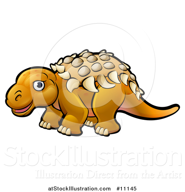 Vector Illustration of a Cartoon Ankylosaurus Dino