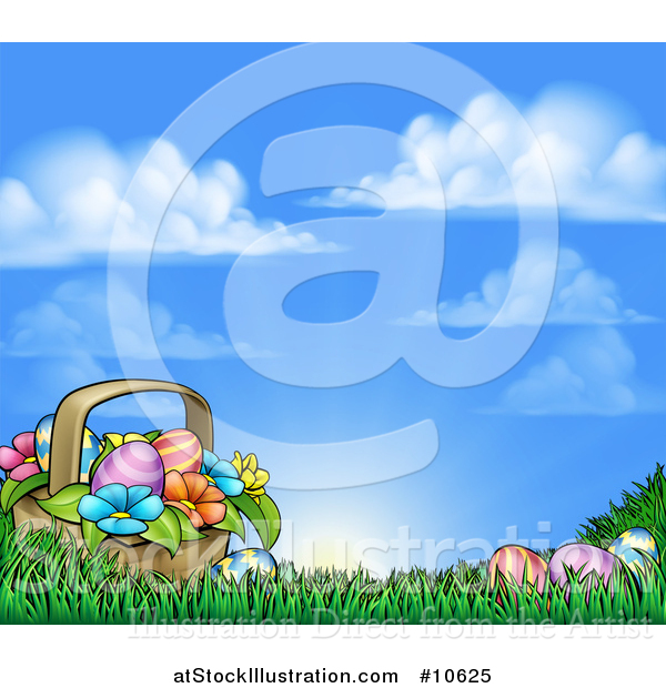 Vector Illustration of a Cartoon Basket of Easter Eggs and Flowers in Grass, Against a Blue Sunny Sky