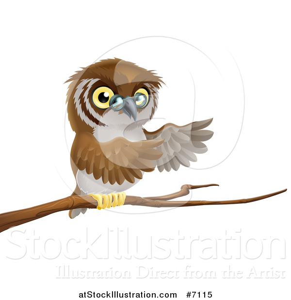 Vector Illustration of a Cartoon Bespectacled Owl Perched on a Branch and Presenting
