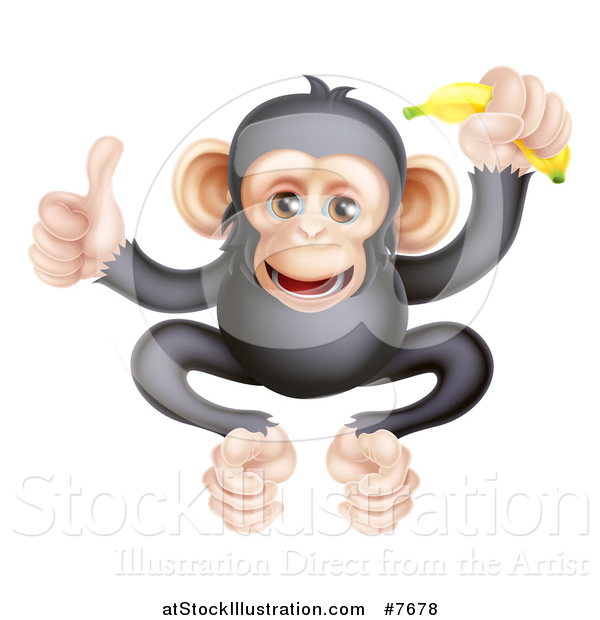 Vector Illustration of a Cartoon Black and Tan Happy Baby Chimpanzee Monkey Holding a Banana and Giving a Thumb up