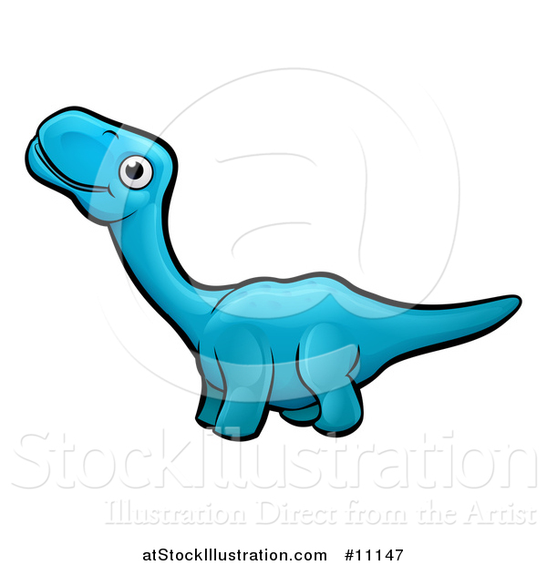 Vector Illustration of a Cartoon Blue Apatosaurus Dino