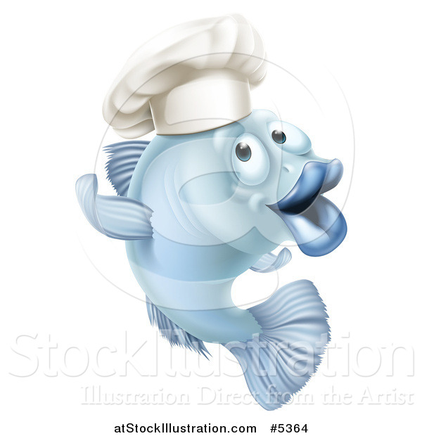 Vector Illustration of a Cartoon Blue Chef Fish Gesturing